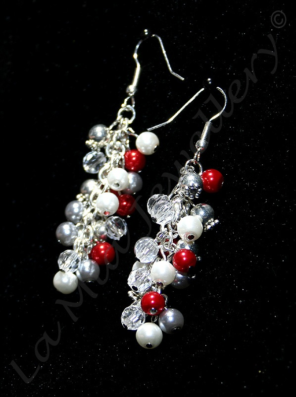 Red & Silver Glass Pearl Cluster Earrings