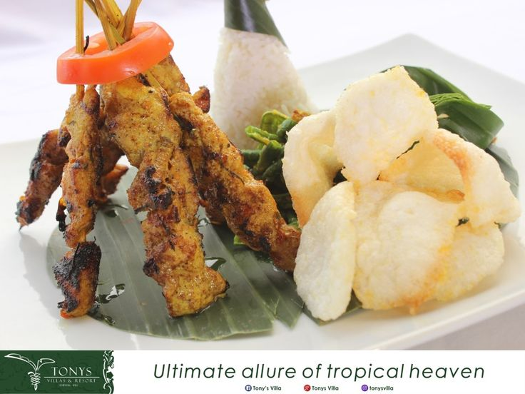 """Bali has a lots of traditional food. One of them is """"Balinese sate"""" has tasty taste. The cut meat or milled meat, melded onto a bamboo stick or lemongrass stick and grilled. The most favorite sate in Bali is """"Sate Babi"""". The spices and any local herbs are mixed together in the dough.   Find this """"Sate Babi"""" at Tonys Villas and Resort in Dong Oman Restaurant. . . . #bali #seminyak #tonysvilla #holiday #food #balinesefood #holiday #triptobali #dishes #foodblogger #fact #balifact"""