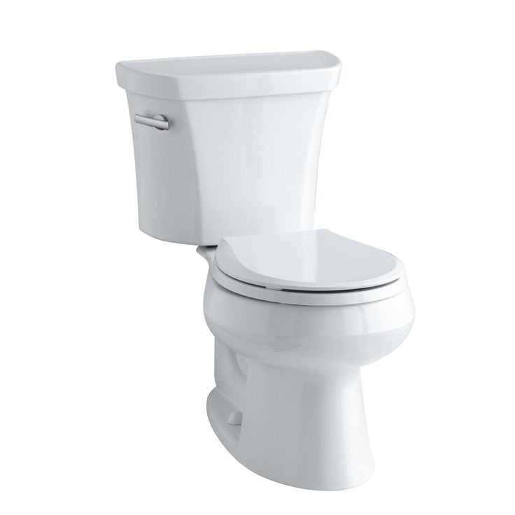 Wellworth Two-Piece Round-Front 1.28 GPF Toilet with Class Five Flush Technology, Left-Hand Trip Lever and Tank Cover Locks
