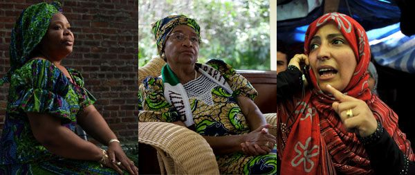 Peace activist Leymah Gbowee, Liberian President Ellen Johnson Sirleaf, and democracy activist Tawakul Karman (L to R), recipients of the 2011 Nobel Peace Prize.