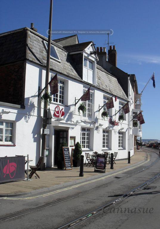 Historic harbourside buildings, Weymouth, Dorset. Now a restaurant.