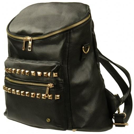 Zwarte rugzak met studs // tassen