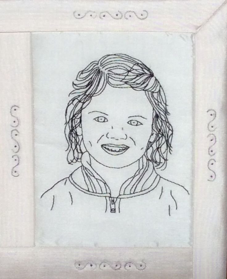 Hand Embroidered Portrait of My Great Niece.