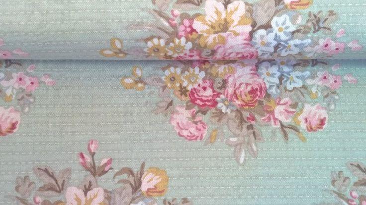 Stoff Blumen - Tilda Quilt Collection Sofia light green - ein Designerstück von Stoffe-guenstig-kaufen bei DaWanda