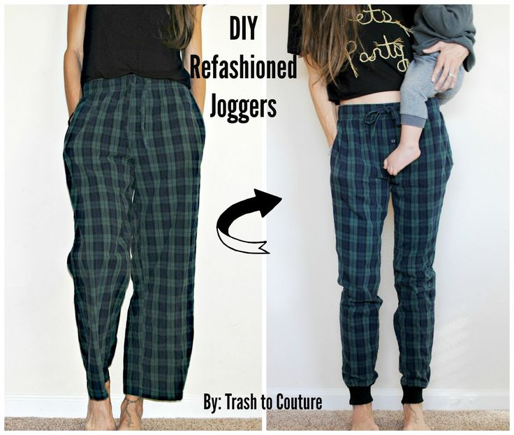 DIY: Refashioned plaid joggers from old pjs.