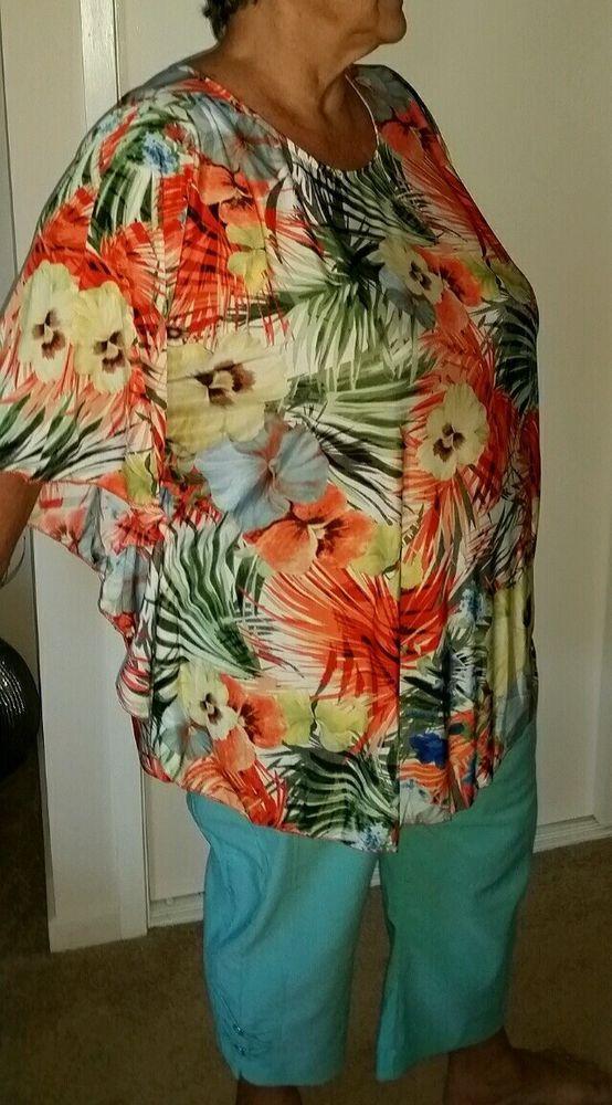 Big PlusTop poncho Tie Dye size 14 16 18 20 22 24 bat sleeve  Soft stretch
