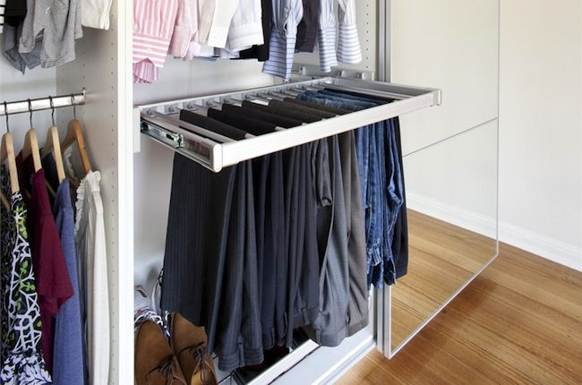 DIY Closet Organizer. This pants rack among other ideas are a MUST for my closet rehab. Great ideas here!