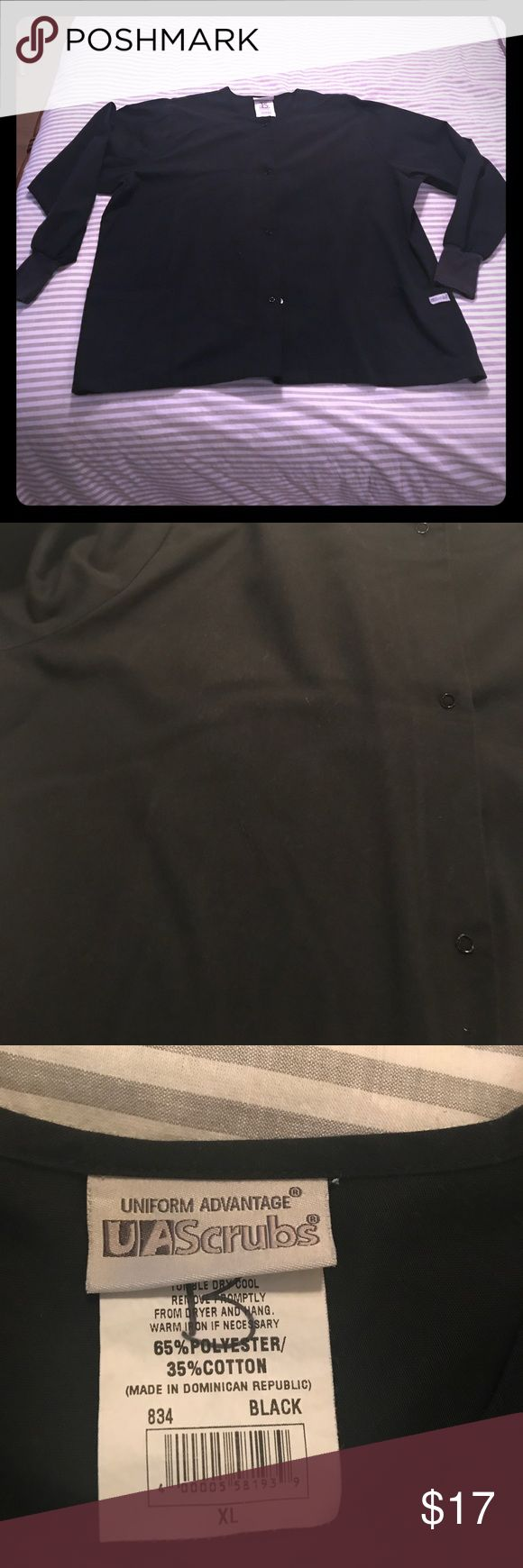 """Black Scrub Jacket In great condition! Only """"flaw"""" is the letter B written on the tag (had to differentiate between my mom's scrubs). Make an offer! UA Scrubs Jackets & Coats"""