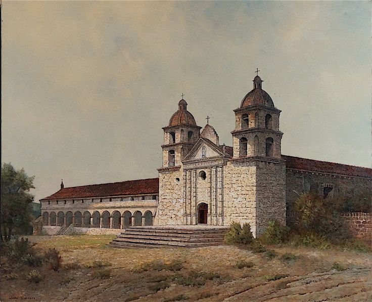 """""""Mission Santa Barbara"""" by Edwin Deakin. On Display at the Santa Barbara Mission Archive Library. http://www.fineartconservationlab.com/painting-on-canvas/art-restoration-of-paintings-of-old-spanish-missions-of-california-by-edwin-deakin-in-the-santa-barbara-mission-archive-and-library/"""