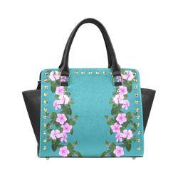 Rain drops on Pink Flowers 3 Rivet Shoulder Handbag (Model 1645)