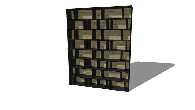Большой предварительный просмотр 3D модель книжного шкафа