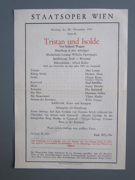 Furtwangler, Wilhelm - Tristan und Isolde Program Staatsoper 1943