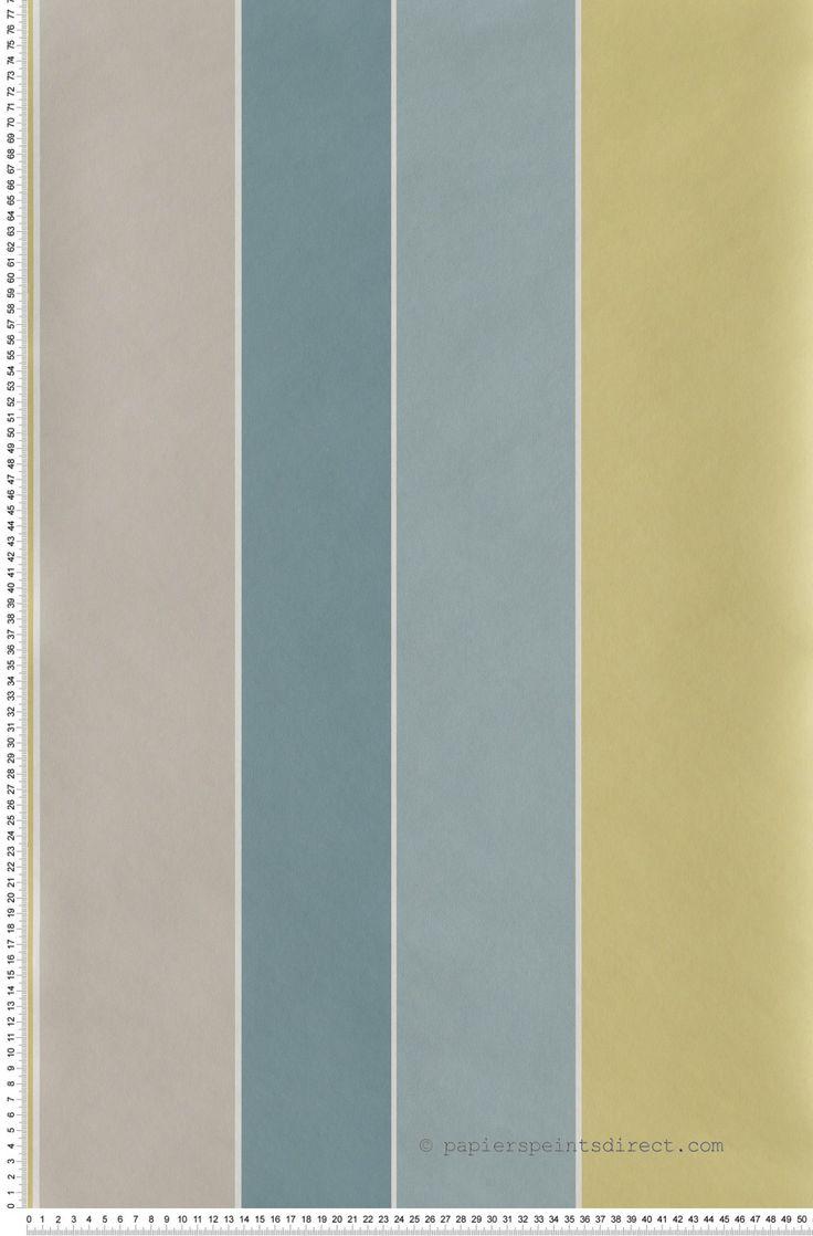 Papier peint Rayures Larges Irrégulières Bleu, Jaune et Gri Lutèce : Papier peint chambre, entrée, pièce à vivre à rayures