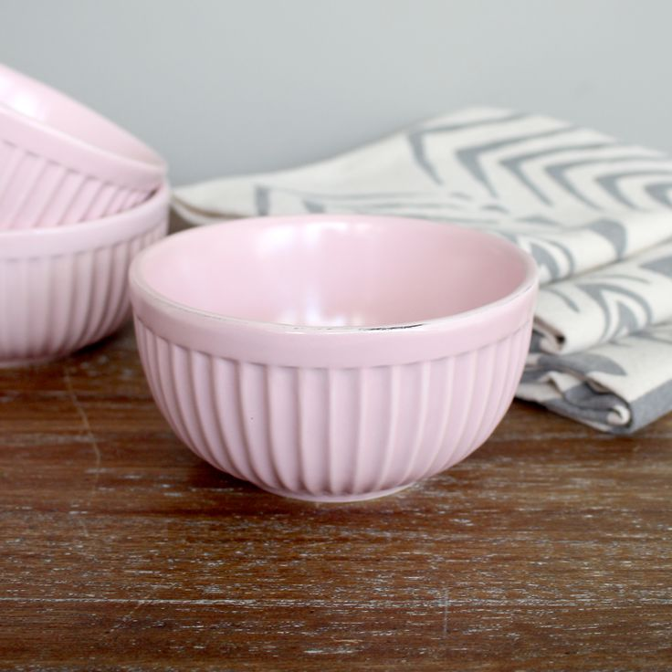 SET OF 4 - Light Pink Ovenproof Bowl