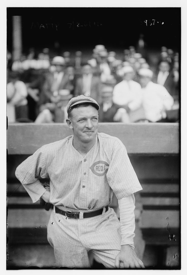 Christy Mathewson's debut in the Polo Grounds as a player/manager of the Cincinnati Reds on July 26, 1916, six days after he was traded from the Giants.  (Bain News Service, Library of Congress, public domain)