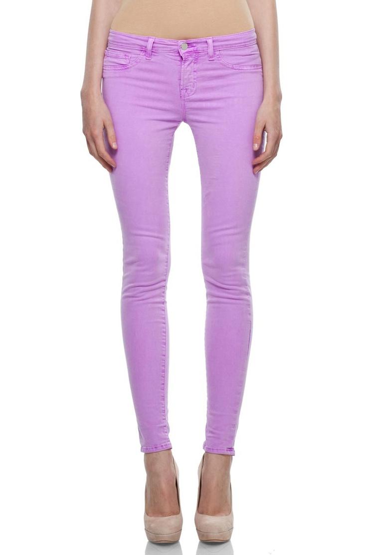 J Brand Neon Twill Midrise Pant In Neon Purple by J Brand