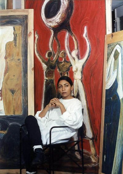 Deepti Naval with various paintings of hers