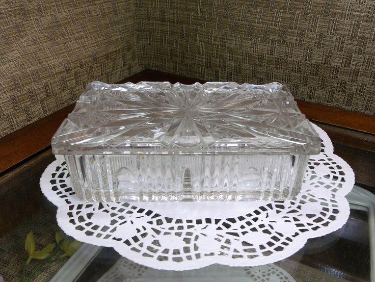 Fenton Daisy Button Clear Glass Candy Dish Vtg   Glass