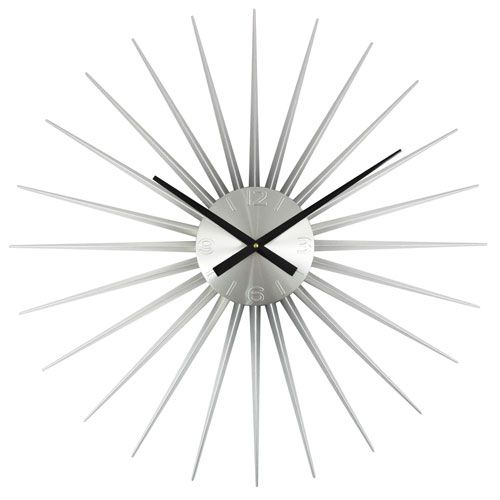 Dia Large Silver Sunburst Clock Control Brands Wall Mounted Clock Clocks Home Decor