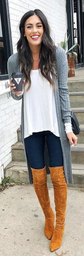 #winter #outfits  me's white blouse and gray open cardigan. Pic by @stylethegirl.