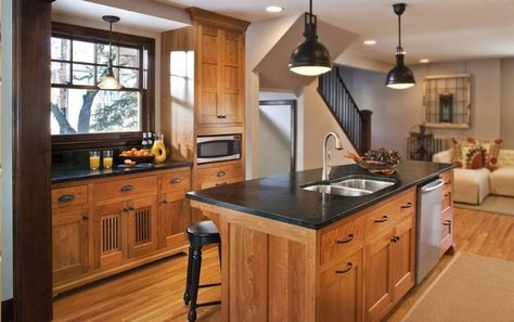 Perfect Combination Of Soapstone Countertop With Wooden Kitchen Table