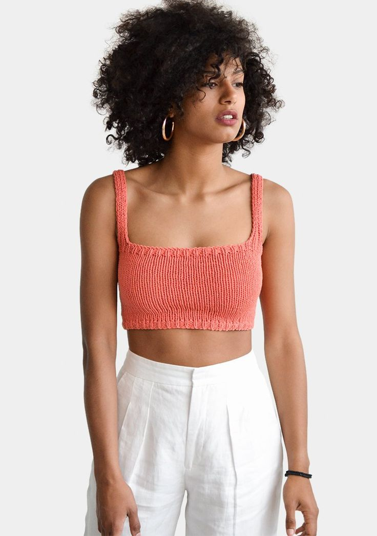 Square Neck Crop Top, Minimal Knit Top, Cropped Yoga Top