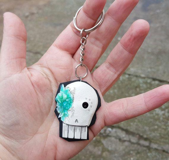 Key chain 3D skull fashion spooky polymer clay by PolymerAnna