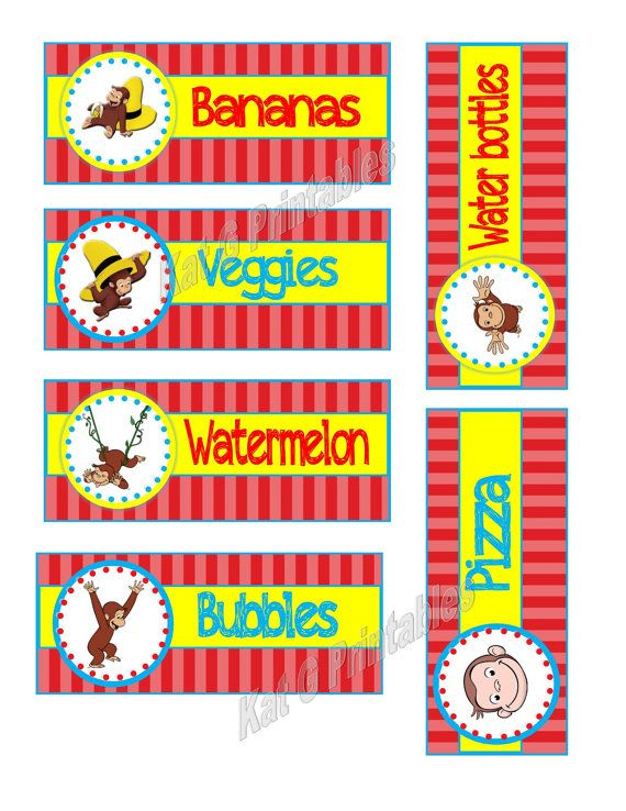 Curious George Birthday Party Food Labels, Printable, Red Yellow and Blue, Personalized Digital File