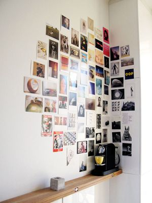 polaroid diy wall art - Simply tape or tack personal photos or postcards of roughly the same size to a blank wall and wrap around a corner for an edgy, artistic vibe-- this is why i want a polariod camera