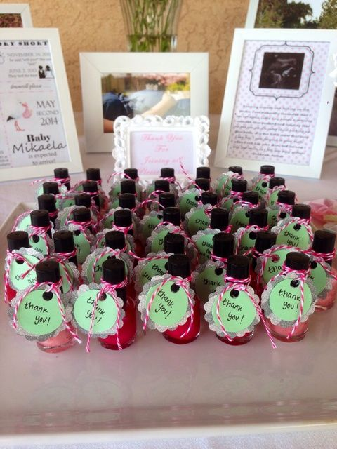 Nail polish favors at a Pink, mint, gray, chevron Baby Shower!  #partyfavor