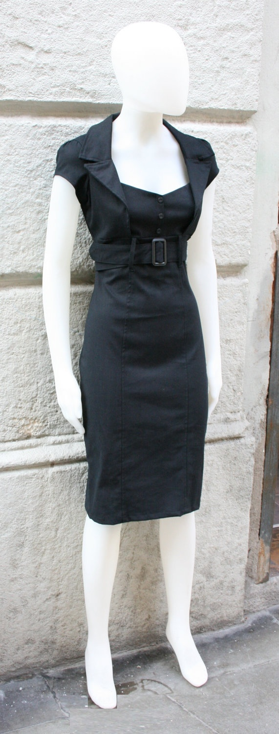 Black dress, SALE,pinup dress,fitted dress,retro 50s dress, mad men, in black stretch cotton