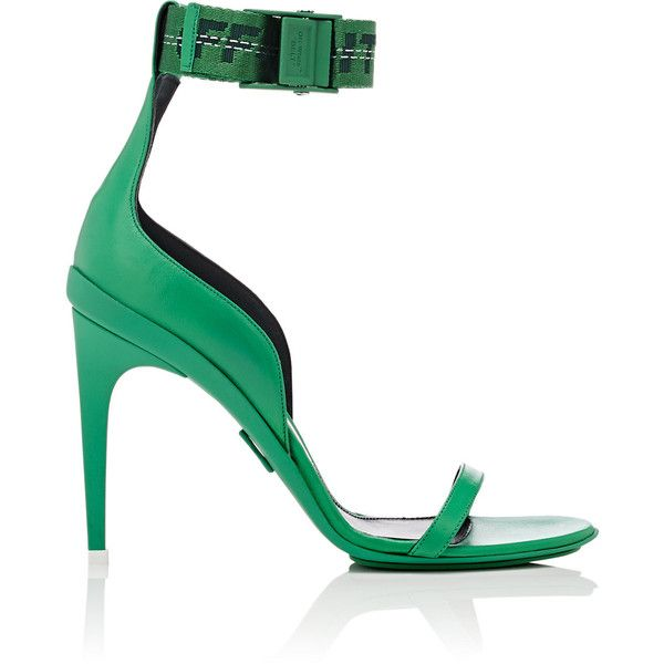 Off-White c/o Virgil Abloh Women's Industrial Leather Sandals (€935) ❤ liked on Polyvore featuring shoes, sandals, green, platform sandals, strap sandals, leather platform sandals, open toe sandals and high heels sandals