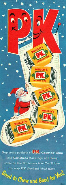 A Christmas themed Wrigley's P.K. Chewing Gum advertisement from 1958. #vintage #Christmas #1950s #ads