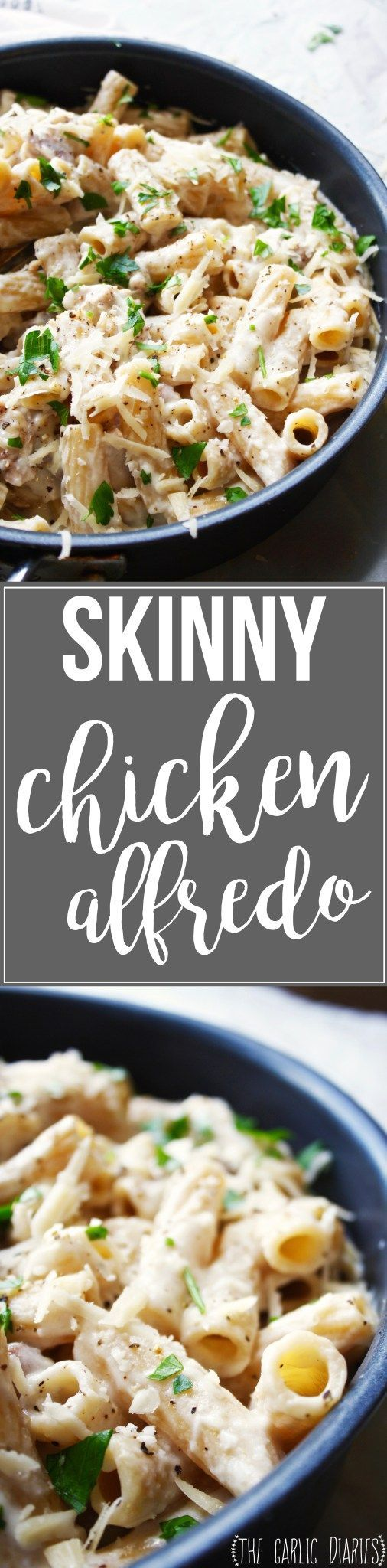 Skinny Chicken Alfredo - Less than 500 calories per serving but tastes just as rich and wonderful as your favorite Alfredo recipe! This stuff is seriously addicting... http://TheGarlicDiaries.com