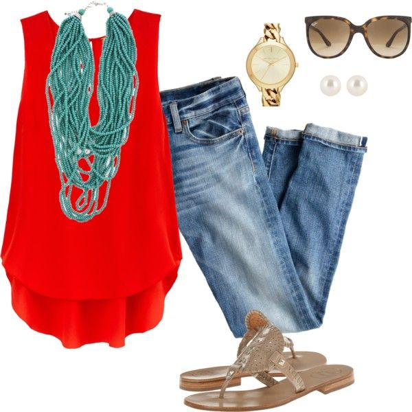 #teal #red #outfit # jeans
