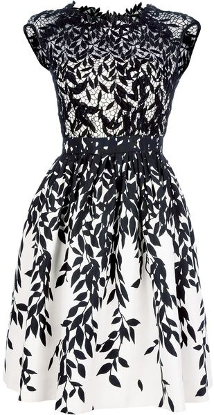 Blumarine Flared Lace Dress in White and black.