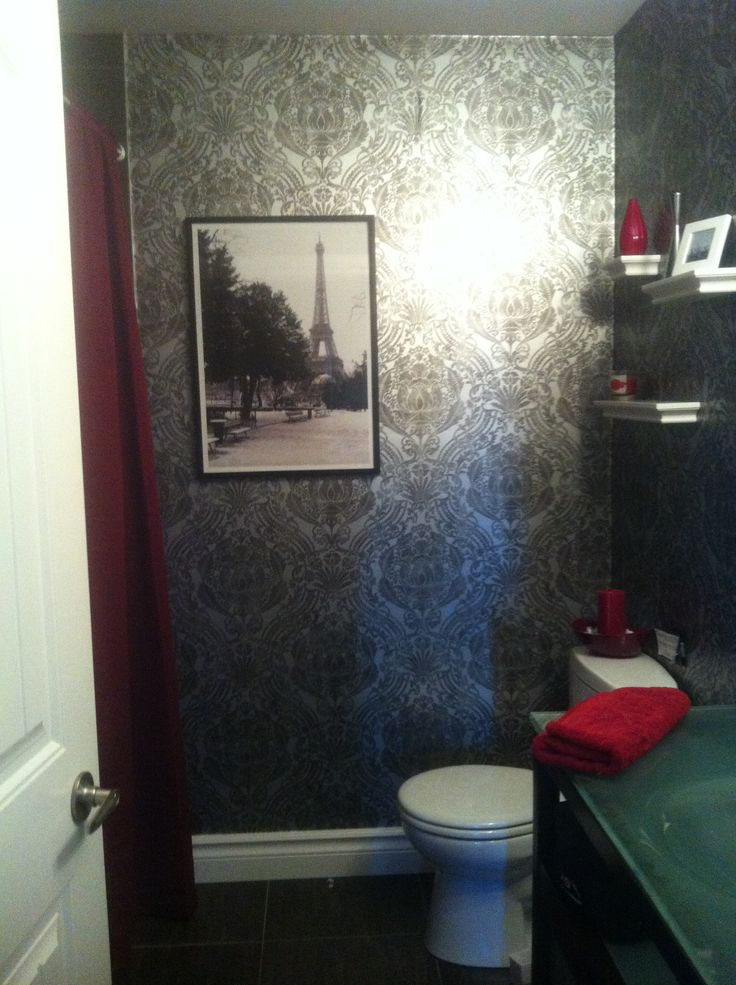 black damask wallpaper bathroom red and white accents red and white : bathroom black red white