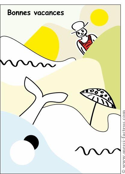 #Carte Bonnes #vacances à la #plage pour envoyer par La Poste, sur Merci-Facteur !