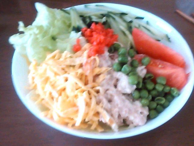冷蔵庫の中のもの入れたら、すごいボリュームに(^-^*) - 1件のもぐもぐ - サラダうどん by Kuzira
