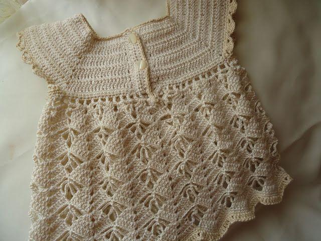 MIL AZAHARES BLANCOS: Vestidito de niña en algodón a crochet (de 0 a 3 meses)