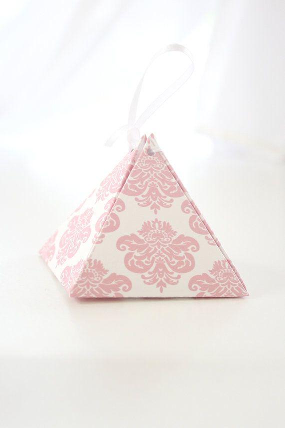 Printable Modern Damask Ballerina Pink and White Pyramid Box DIY