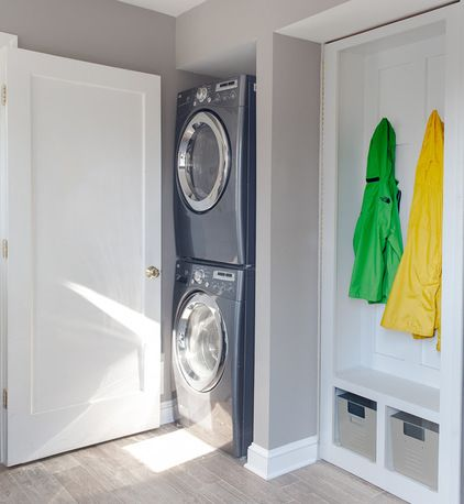 Mudroom.  Laundry Room.  Stackable washer/dryer.  Lockers
