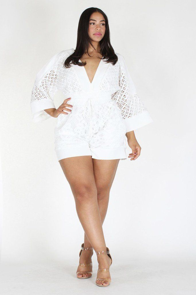 b678cfa8b1d Plus Size Designer Crochet Lace Waist Tie Romper in 2019 | Plus ...