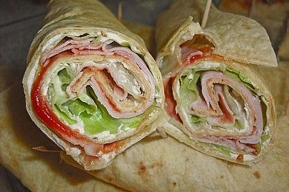 Party wraps with cream cheese and turkey breast