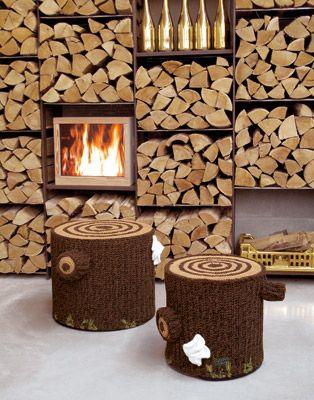 Crochet tree stump stools