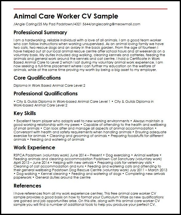 Animal Care Worker Cv Sample Myperfectcv Job Resume Samples Cover Letter Example Templates Resume Examples