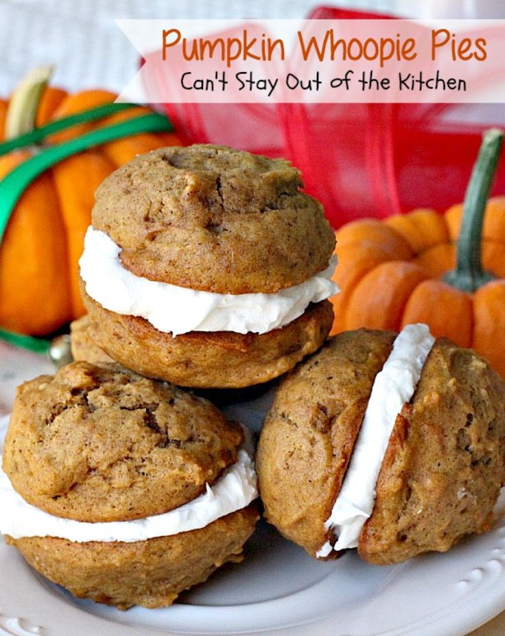 These spicy Pumpkin Whoopie Pies rock! Pumpkin cookies are filled with a fabulous egg white and confectioner's sugar icing.