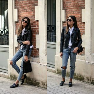 Loafers will always look great with a pair of distressed denim jeans. @junesixtyfive L. wears this style with a leather jacket for an achievable biker girl style! Jacket: #mango, Top: #zara , Jeans: #bershkastyle . http://www.justthedesign.com/fashion-trends/shoes/how-to-wear-loafers-outfits-with-loafers/