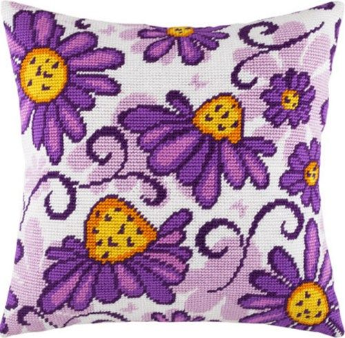 Coneflower pillowcase cross stitch DIY embroidery kit, needlepoint | Lado - Patterns on ArtFire
