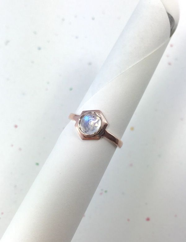 10k rose gold Single Hex ring w/ 6mm rose cut Rainbow Moonstone